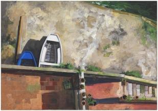 Affaciandosi dal terrazzo dal bar Moccia | acrilico su pannello | 24x35cm | 2015