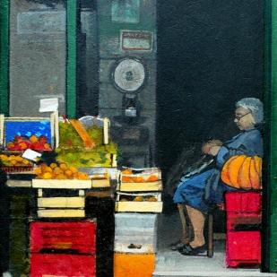 La Zucca | fruttivendolo | acrylique sur panneau | 28x24cm | 2008