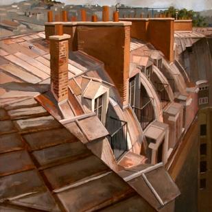 Perspective de toits | 49x42cm | huile sur panneau | 2002
