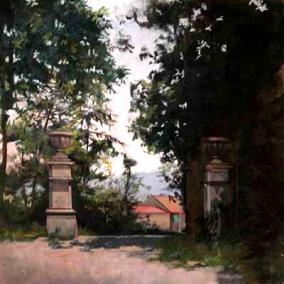 Les deux Pilastres | Asti | 40x40cm | huile sur panneau | 2004